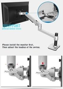 Image 4 - Suporte ultrafino de parede, suporte para monitor de braço mecânico, liga de alumínio, suporte para monitor de movimento completo, suporte de montagem
