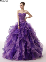 Пышное Фиолетовый Пышное Платье 2018 Милая Топ из бисера Сладкие 16 Бальные платья синий лет День рождения
