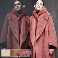 150CM Wide 760G/M Solid Color Warm Thick Alpaca Wool Viscose Fabric for Winter and Autumn Dress Jacket Overcoat Outwear E558