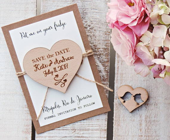 Personalized Heart Rustic Wedding Announcement Invitation