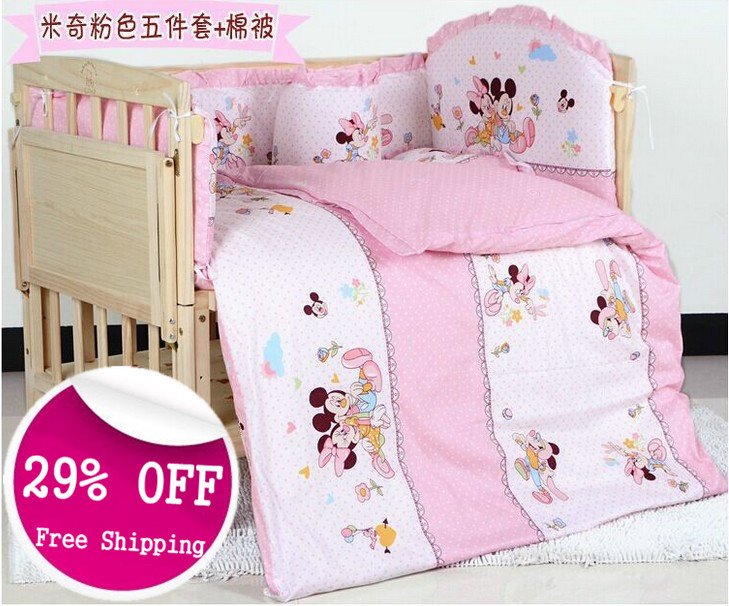 Algodón alta calidad Mickey Minnie bebé fija la ropa de cama cuna