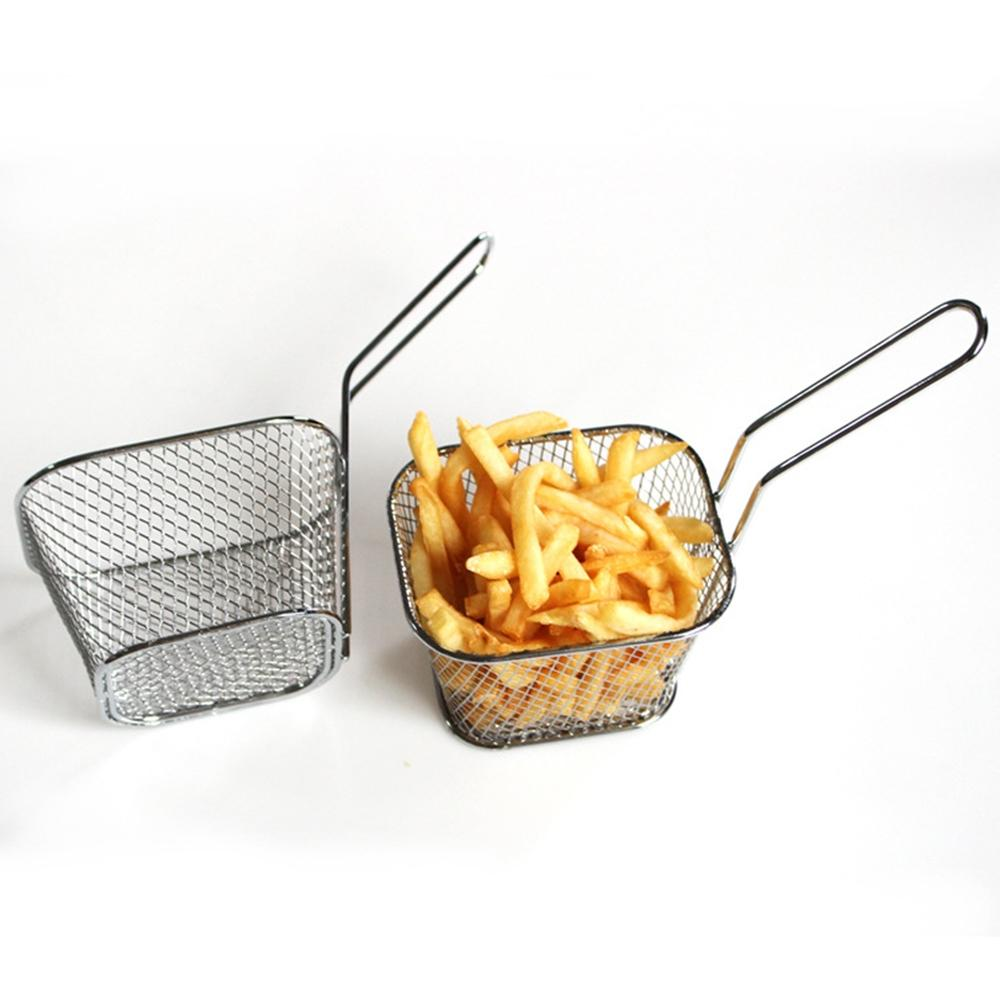 Adeeing Frying Square Basket Strainer Plating Wire Mesh Fryer Tools for French Fries Fried Food