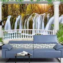 beibehang Custom high fresco wallpapers European balcony waterfall landscape 3d