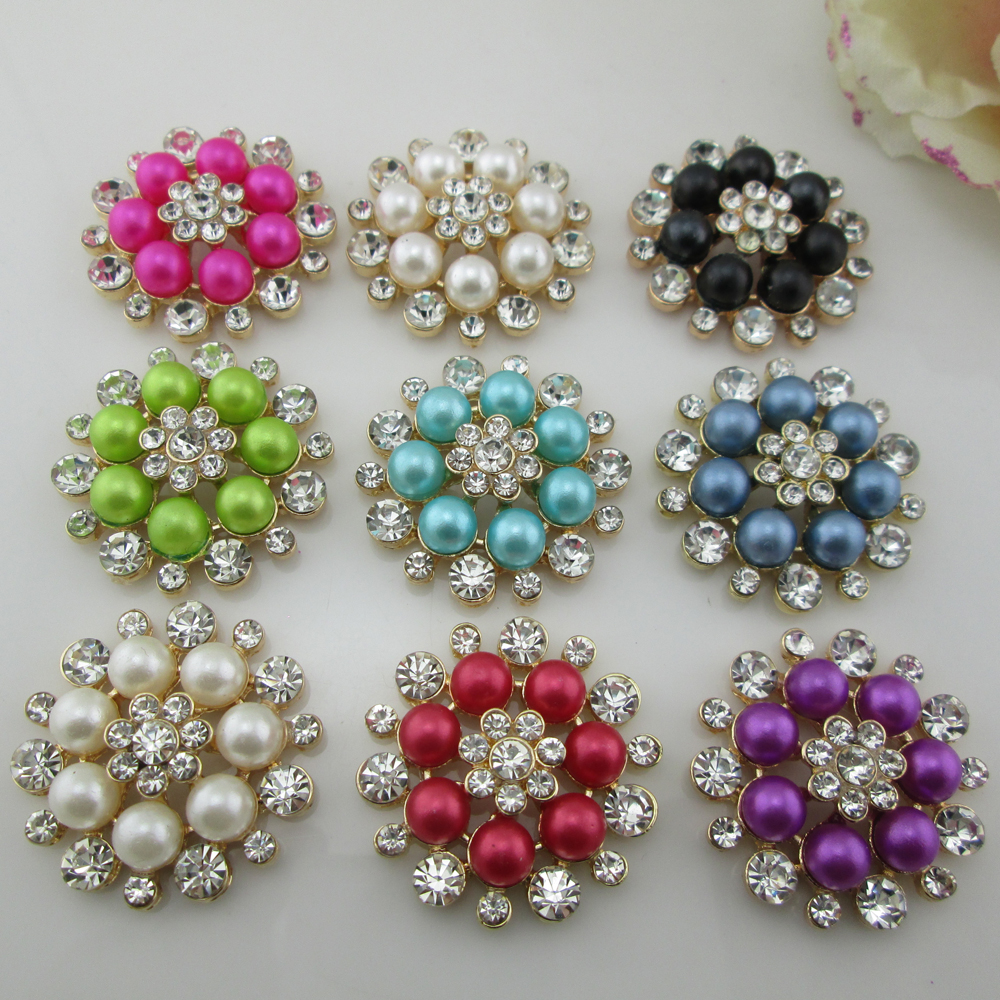 (BT196 33mm)5pcs 10 Colors Pearl Flatback Rhinestone Buttons Diamante Crystal Hair Flower Scrapbooking Accessories