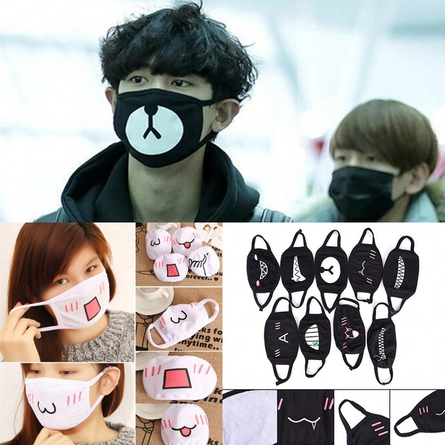1PC Cotton Dustproof Mouth Face Mask Unisex Korean Style Kpop Black Bear Cycling Anti-Dust Cotton Facial Protective Cover Masks
