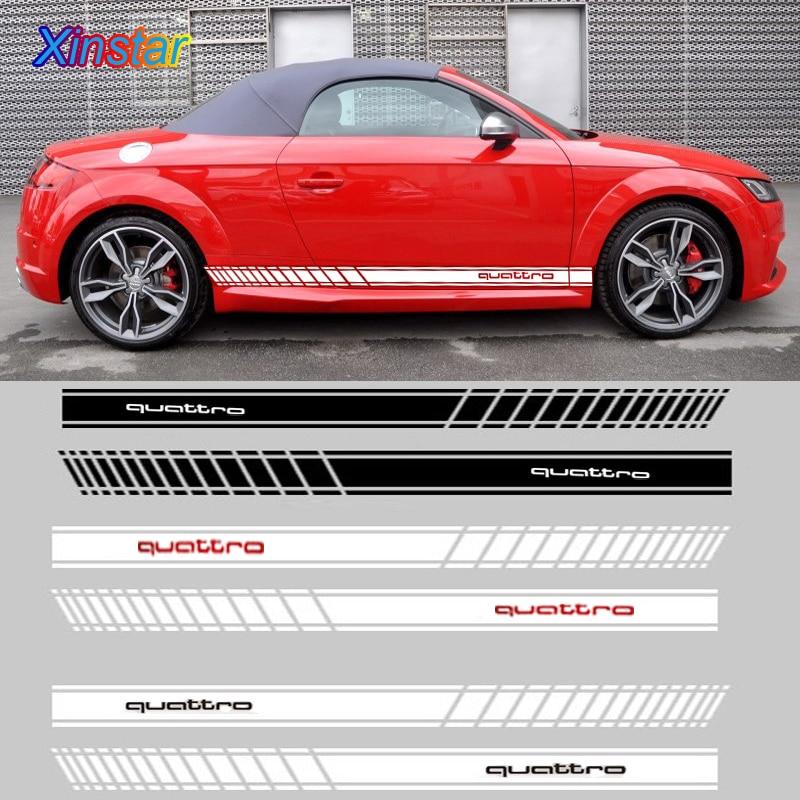 2pcs/lot Quattro Car Side Body Decoration Sticker For Audi