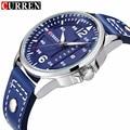 CURREN Luxury Brand Mens Watches Military Sport Wristwatch Blue Leather Strap Date Clock Men Quartz Watch Relogio Masculino 8224