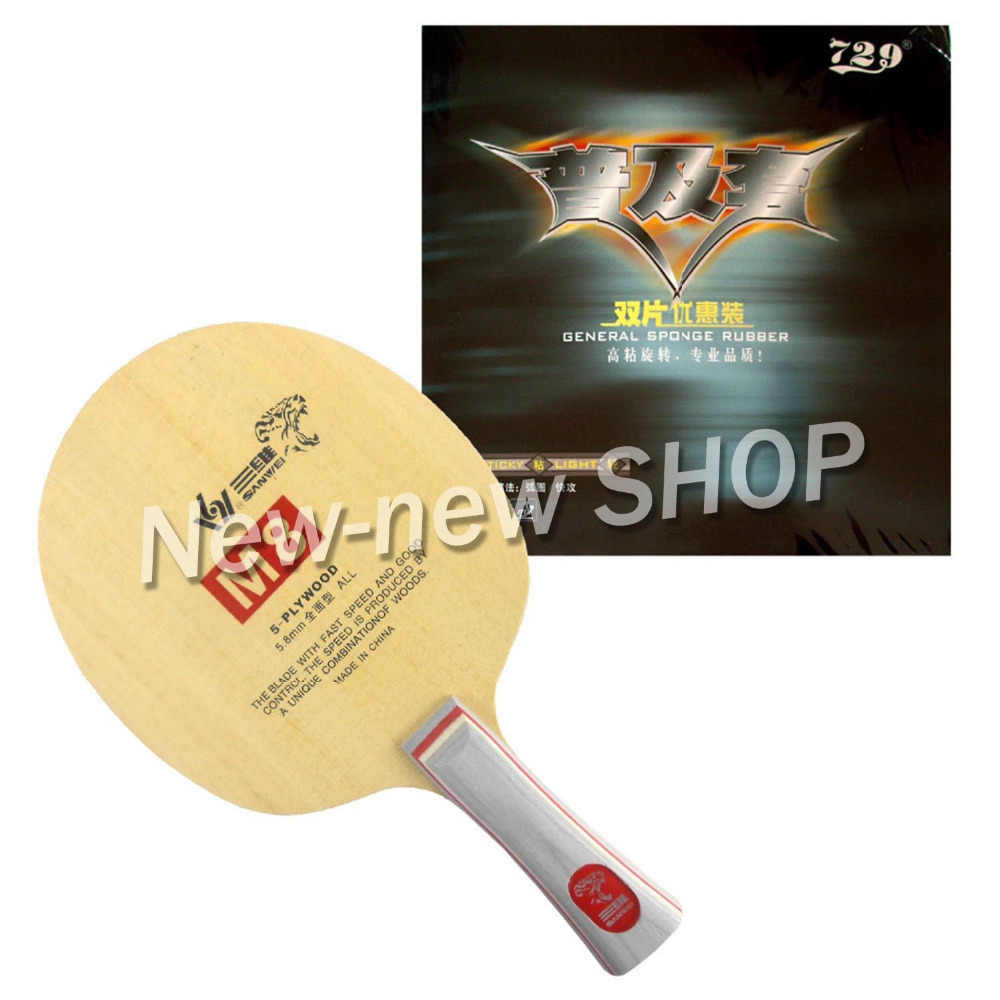 Sanwei M8 (M 8, M-8) With 2x 729 General table tennis Rubber With Sponge for one paddle shakehand Long Handle FL