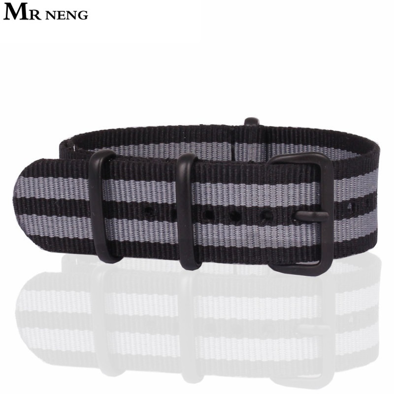 High quality Black Grey 20MM 22MM Nylon Watch band NATO straps waterproof watch strap Navy colors Watchband 20 MM Black buckle aquapulse 4122b grey black