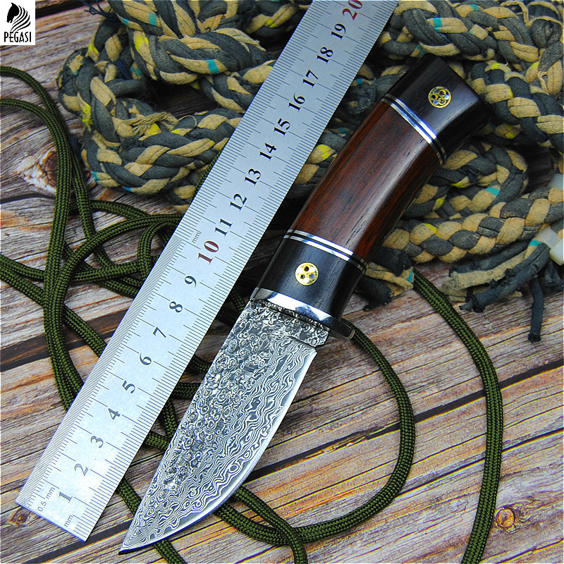 Tools : PEGASI Damascus steel round wooden handle outdoor hunting knife high hardness forging straight blade li gifts knives wholesale