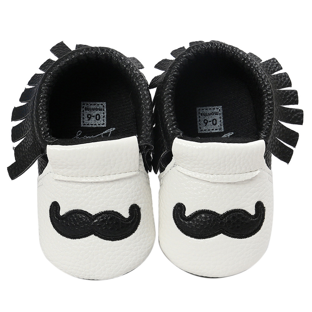 ABWE Best Sale Cute Beard Winter Warm Baby Shoes Newborn Toddler Crochet Tassels Shoes Black 0-6 month