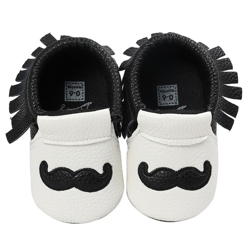 ABWE Best Sale Cute Beard Winter Warm Baby Shoes Newborn Toddler Crochet Tassels Shoes Black 0-6 month