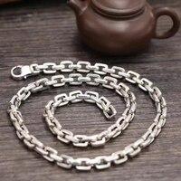 SOQMO цепочка Ожерелье Подвеска 100% Настоящее серебро 925 пробы панк широкий 7 мм длинное ожерелье мужские ювелирные изделия аксессуары SQM151