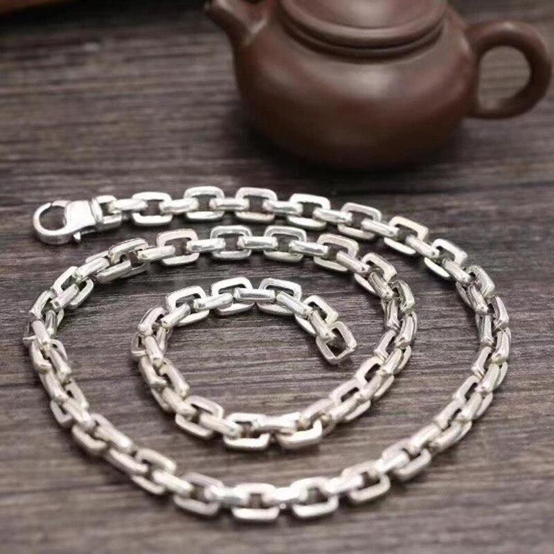 SOQMO Chaîne Collier Pendentif 100% Réel 925 en argent sterling Punk Large 7mm Long Collier hommes corps bijoux accessoires SQM151
