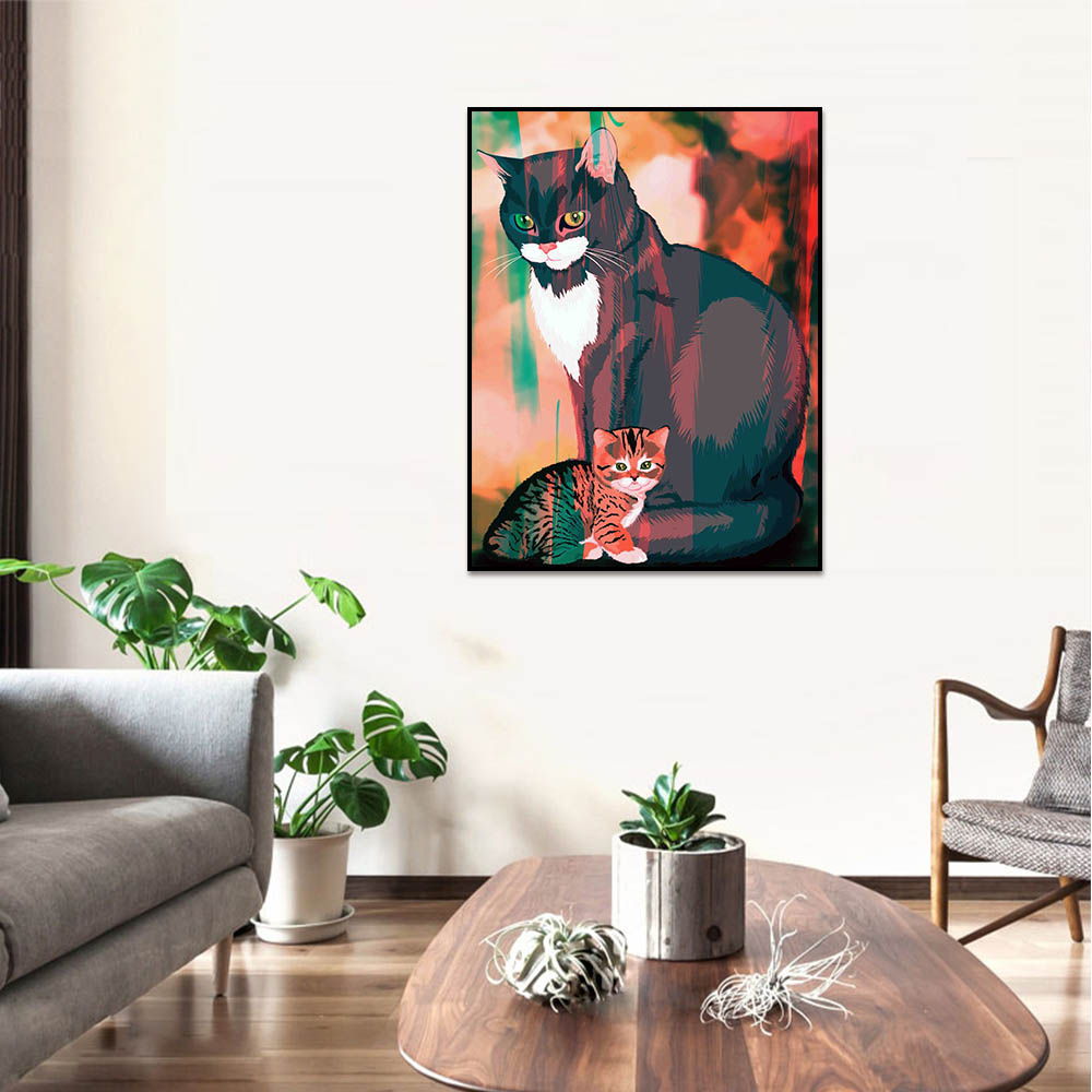 Unframed Canvas Prints Art Painting Black Cat And kitten Prints Wall Pictures For Living Room Wall Art Decoration Drop Shipping