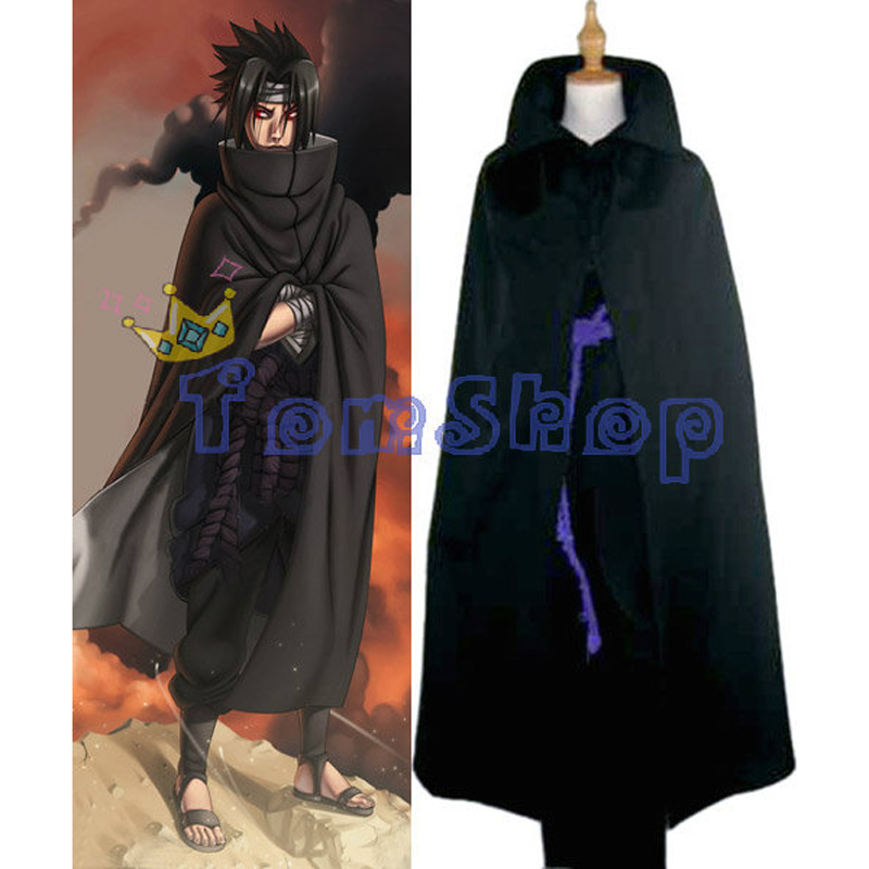 Japanese Anime Naruto Shippuuden Uchiha Sasuke Black Cloak Deluxe Cosplay Costume (Cloak+Tops Shirt+Pants+Belt) Free Shipping