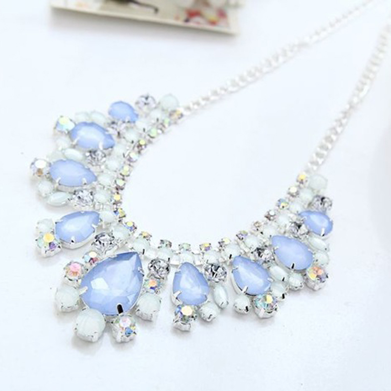 YFJEWE 2018 Top Sell New Silver Plated Blue Crystal Necklace - Bisutería