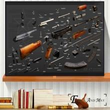 AK47 RPG Pistol Russian Weapon Chart Canvas Prints Modern Painting Posters Wall Art Pictures For Living Room Decoration No Frame