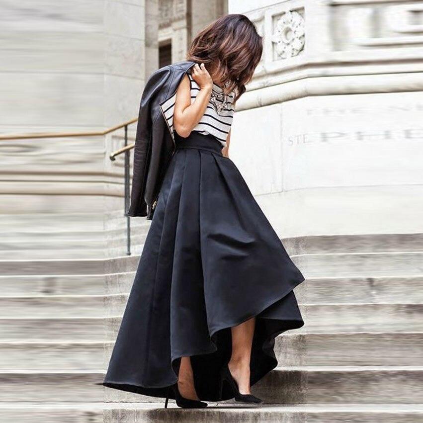 high low skirt pleat high zipper waist floor length