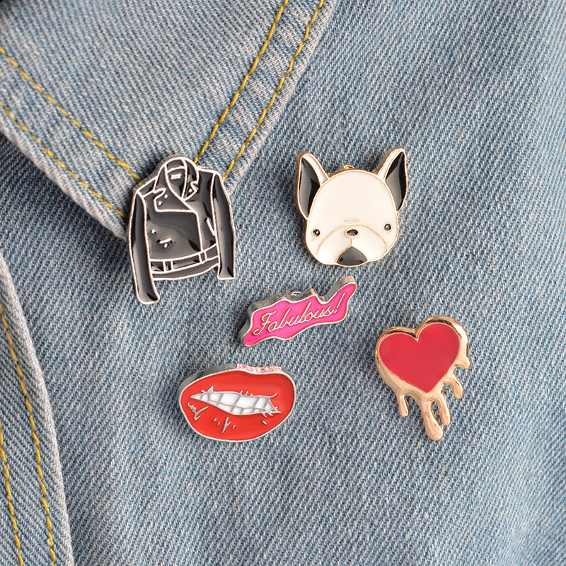 5 pcs/set Metal Enamel Brooch Bulldog Leather Jacket Clothes Heart Fabulous Sexy Lips Pins Collar Badge for Women Men Jewelry