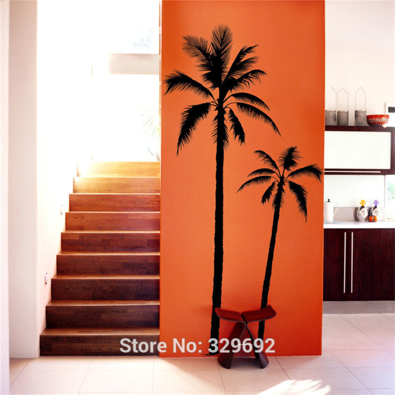 Hot Sale Palm Tree Coconut Palmier Beach Surf Wall Art Sticker Decal