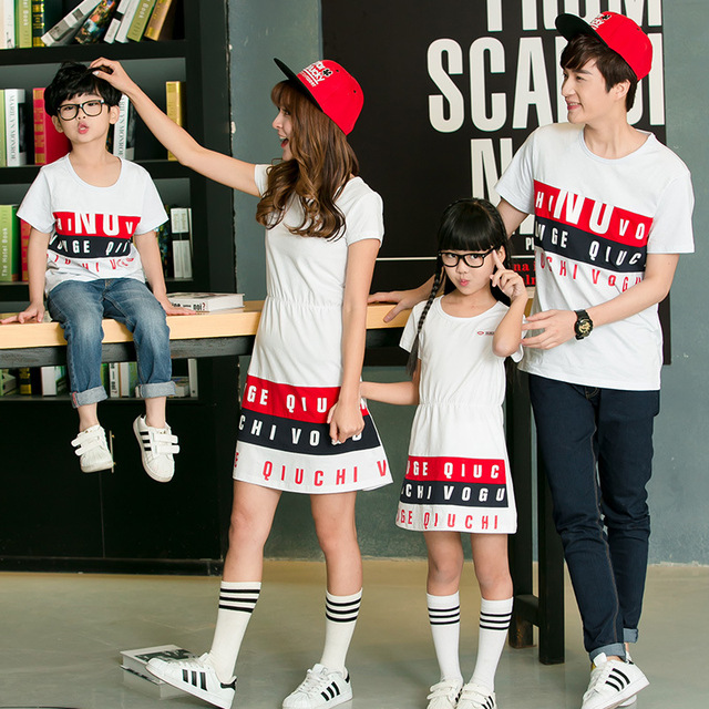 ffaad3f33a 2016 summer family matching clothes father son outfits mother daughter  dresses family look girl and mother