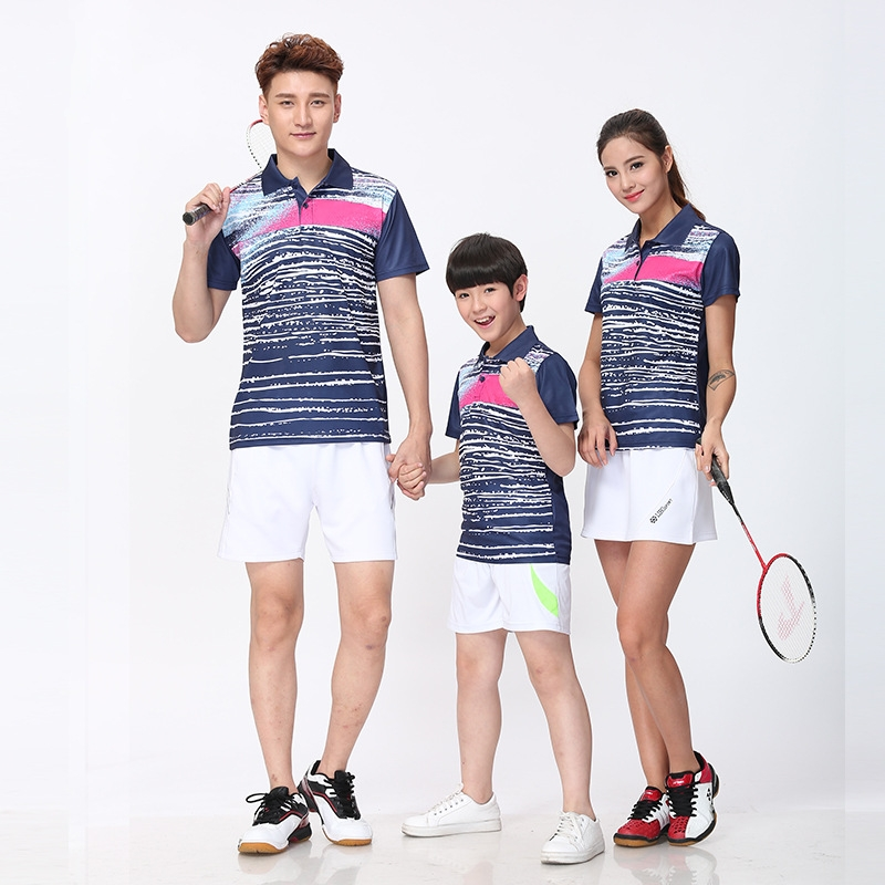 Badminton Shirt,Summer men women lovers tennis train shirts clothing,Stripe gradient tab ...