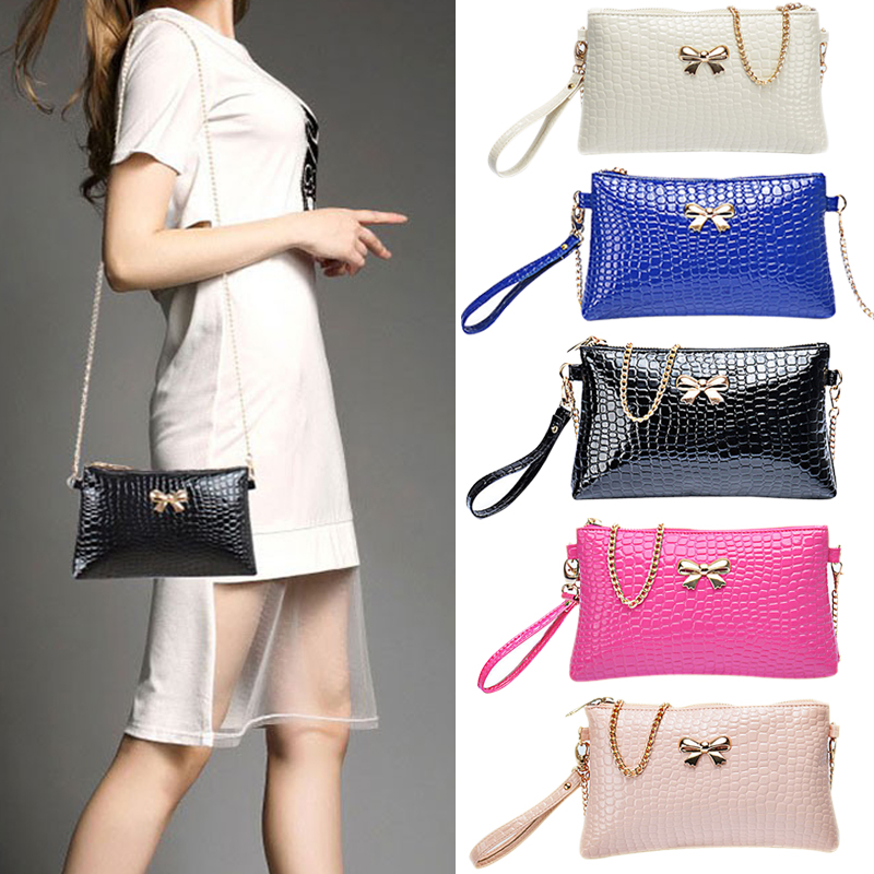 New Women's Chain PU Small Shoulder Bag Crocodile Bow Decoration Clutch Pouch Bags