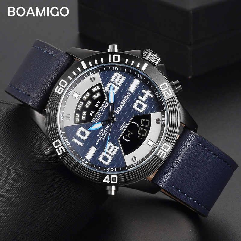 BOAMIGO מותג שעונים גברים ספורט שעונים אופנה קוורץ שעוני יד לגברים 30 M עמיד למים LED דיגיטלי שעון Relogio Masculino