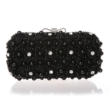 ... White Flowers Evening Hand Bag Noble Ladies Pearl Wedding Party Dressed  Clutch BagsRhinestone Bow Mini Purse dd19e85e2fde