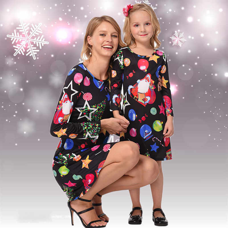 Mother Christmas Outfits Plus Size.2018 Pop Christmas Mother Daughter Dress Santa Long Sleeve Xmas Family Matching Outfits Cute Street Show Clothes Plus Size