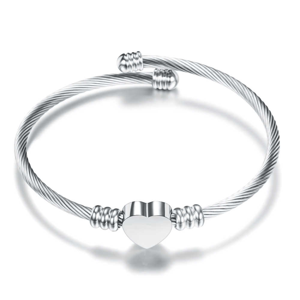 Модные 3 цвета ювелирные изделия женские Нержавеющая сталь витой кабель провода сердце Шарм Браслет