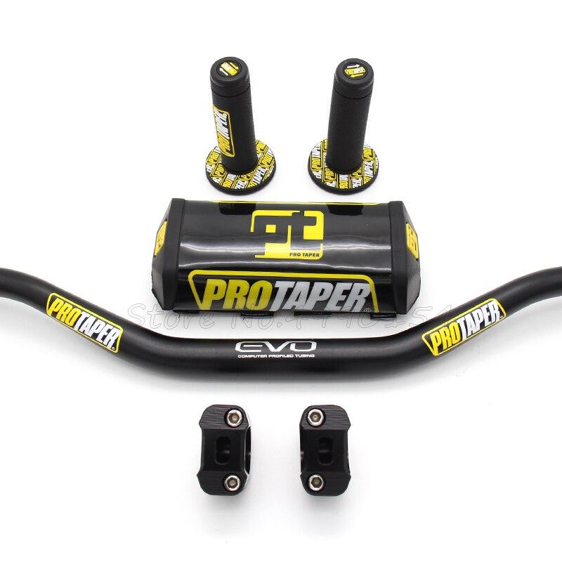 Motorcycle Handlebar 1 1/8 Black Pads PRO Taper Handle Grips CNC Handlebar Clamp Pit Bike Motocross 28.5MM