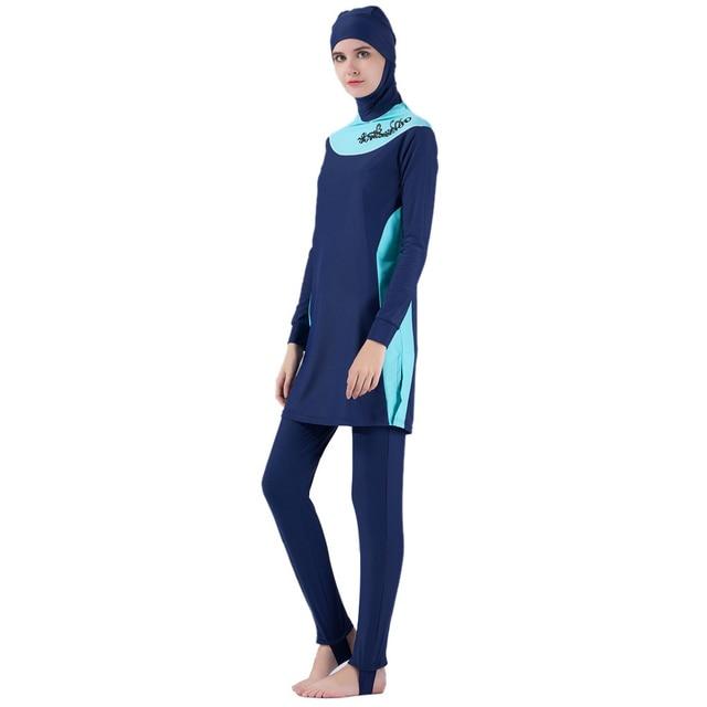 9167590bb2ed8 Deluxe Modest Muslim Swimwear Islamic Swimsuit for Women Hijab Swimwear  Full Coverage Muslim Swimming Beachwear Swim
