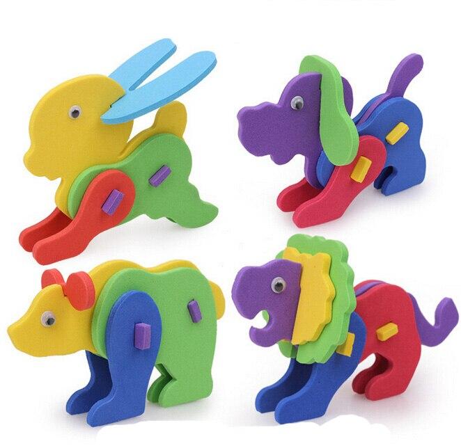 5 шт. Новый Творческий Ручной EVA Пены Интеллект Развития Животных Головоломки Игрушки для Детей бесплатная доставка