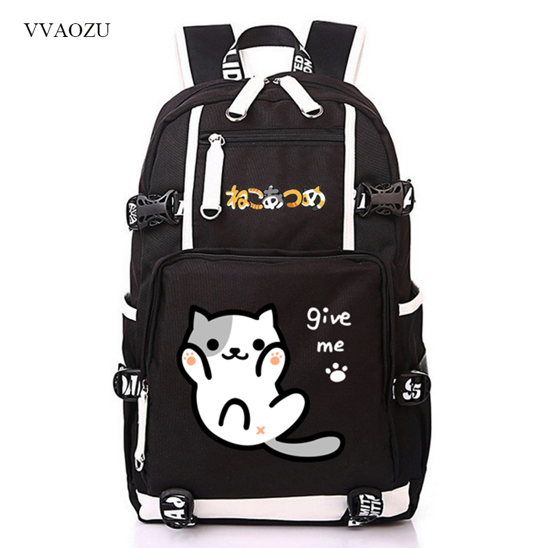 Anime Cute Neko Atsume Cat Backyard Multifunctional Backpack Cartoon Bookbag Travel Shoulder Bag Schoolbag Rucksack for Teenage