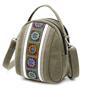 Image 3 - 2019 新しい女性メッセンジャーバッグの国家刺繍ミニキャンバスジッパー携帯電話コイン財布ショルダーバッグ