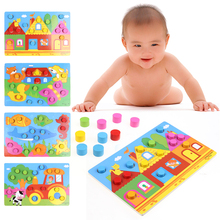3D Puzzle Jigsaw Wooden Toys Cartoon Colorful Cognition Board Games Educational Toys For Children Wood Puzzles Baby Toys
