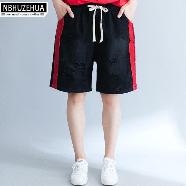 6545a04fd93b8 NBHUZEHUA 7G801 Women s Big Size Pants Capri Harajuku Bts Ripped Holes  Denim Pants Jeans Sweatpants Summer Wide Leg Pants 5XL