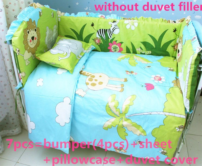 Promotion! 6/7PCS 100%cotton reactive printing baby bedding set/cotton crib bedding sets , 120*60/120*70cm