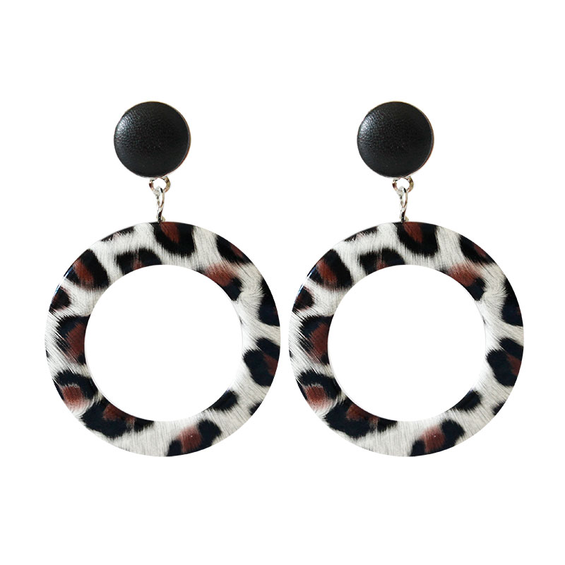 F&u Fashion Leopard Skin Print Pu Leather Earrings Round With Hollow Shape Personality Earrings Fashion For Women 4 Colors