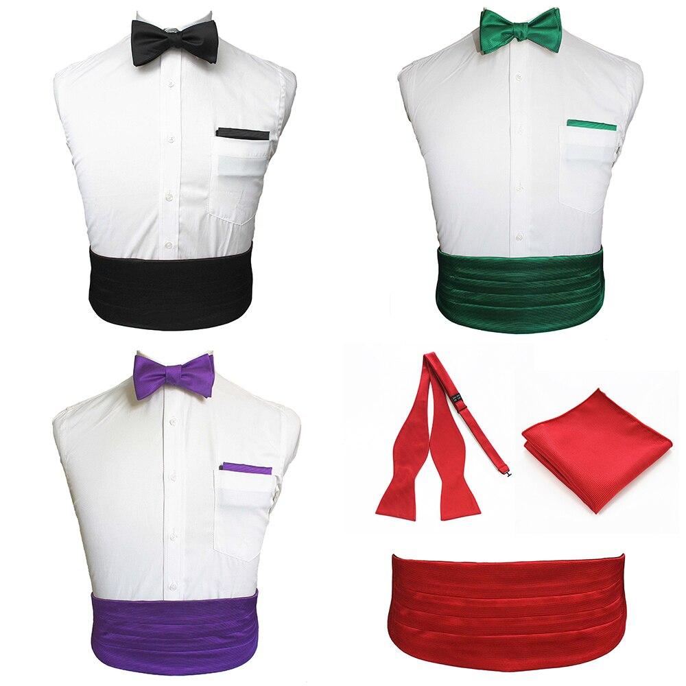 JEMYGINS Silk Solid Black Red Gentleman Set Bow Tie& Pocket Square& Cummerbund Simple Exquisite Tie For Dinner Party Wedding