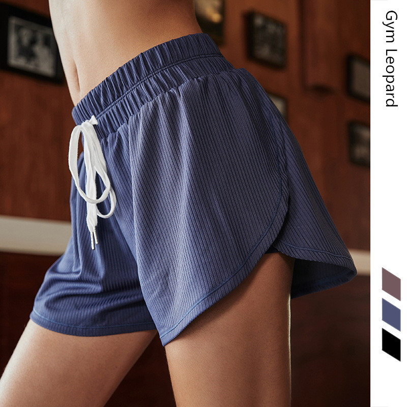Internal Safety Shorts Running Shorts Women Mid waist Elastic band +Drawstring waist Fitness Shorts Loose Breathable Yoga Short