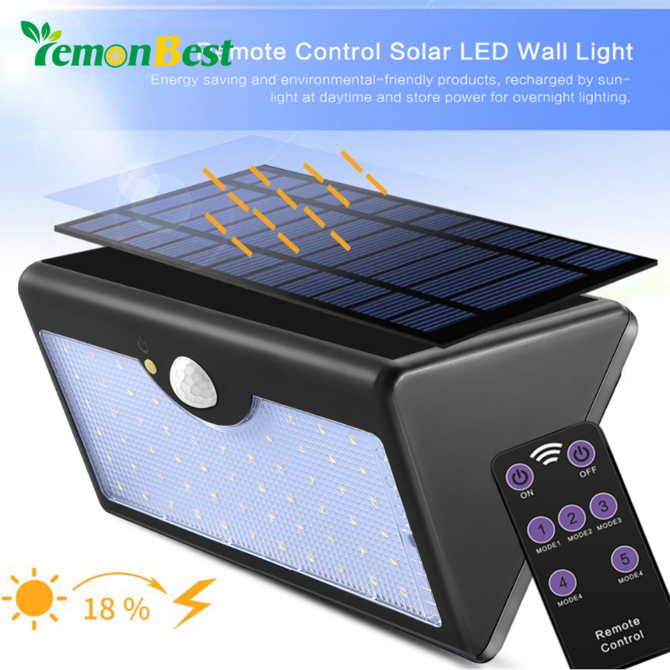 60 Led Remote Control Motion Sensor Solar Light Wall Lamp