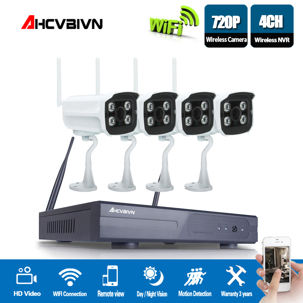 Plug and Play 4CH HD Wireless NVR Kit P2P 720P waterproof Outdoor IR Security 1MP IP Camera WIFI home CCTV System set image