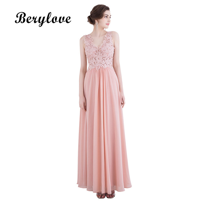 BeryLove Sexy Dirty Pink Prom Dresses 2018 Long Deep V Neck Sequined Lace  Evening Dresses Evening Gowns Special Occasion Dress 75baee8eb56a