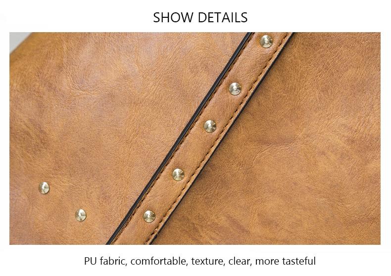 Rivet Leather Women Tote Handbag 36