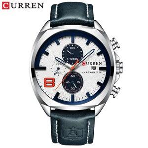 Image 4 - CURREN 2019 אופנה גברים של ספורט שעון גברים אנלוגי קוורץ שעונים עמיד למים תאריך צבאי תכליתי יד שעונים גברים שעון