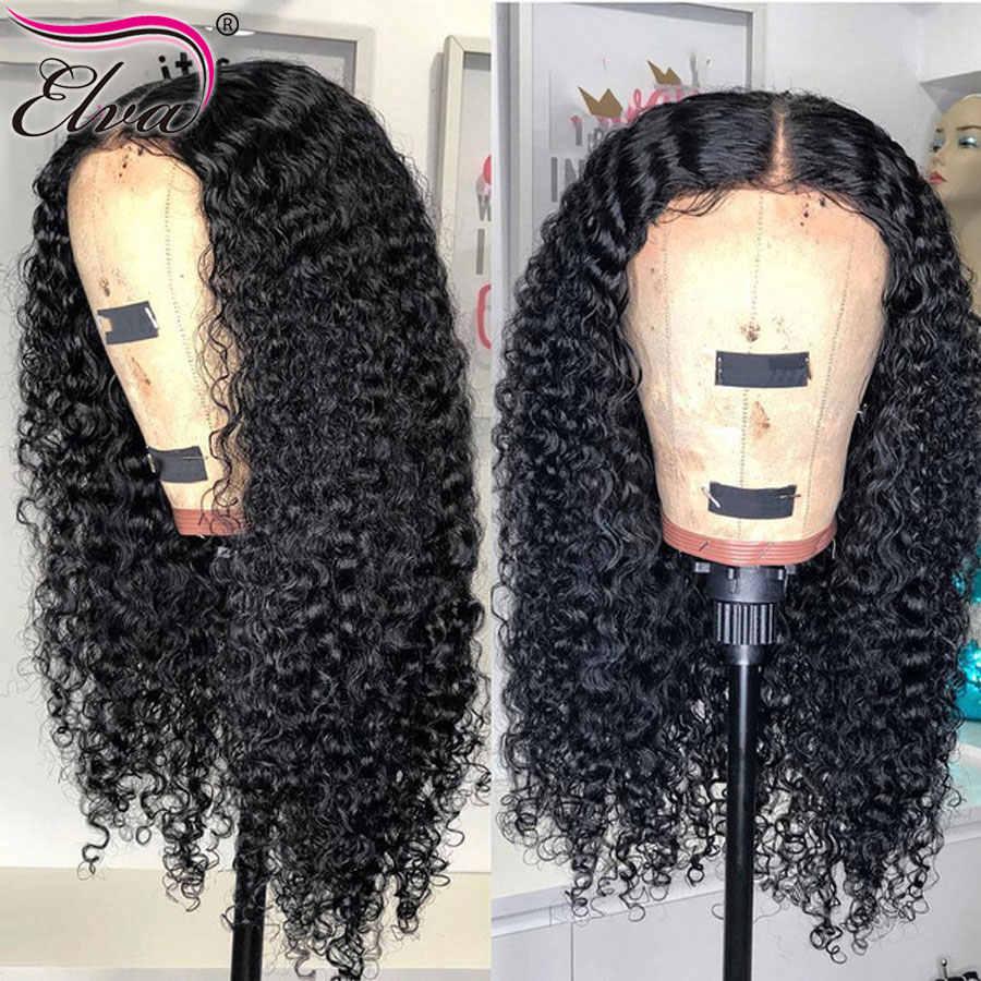 Волосы ELVA 13x6 человеческие волосы на кружеве парики с детскими волосами предварительно сорвал бесклеевой парик из волнистых волос для черных женщин бразильские волосы remy