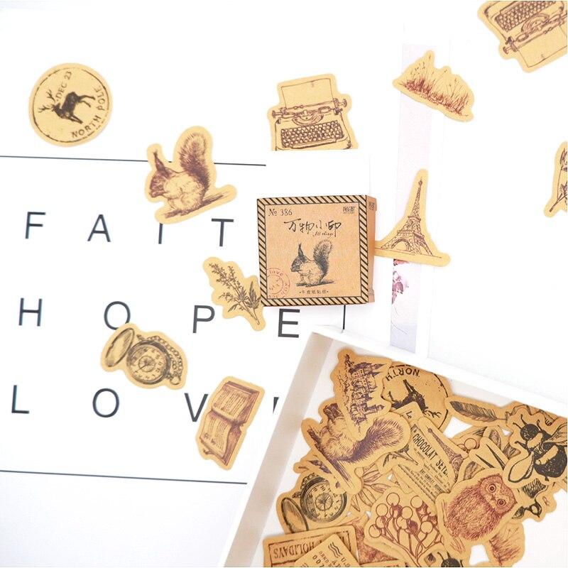 46 Pcs/box vintage Imprint paper sticker DIY diary album decoration stickers scrapbooking planner label Scrapbook